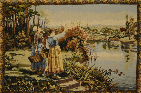 Wall Hanging - Tache 28 X 47 Inch Victorain Era Secenic Lakeside Retreat Woven Tapestry Wall Hanging With Hanging Loops
