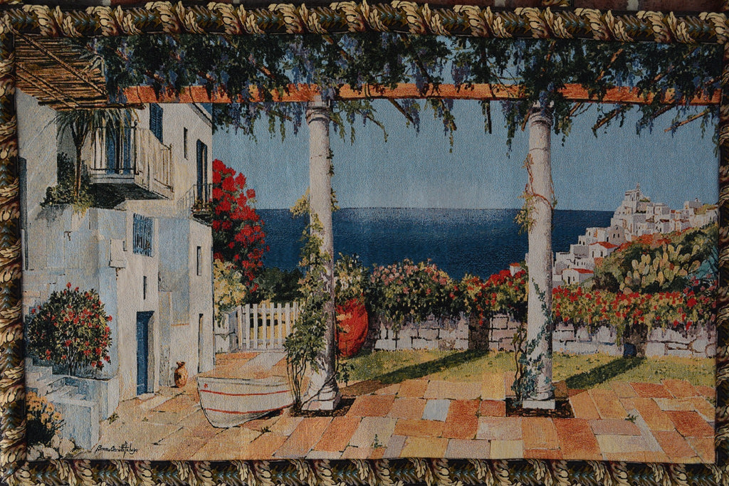 Wall Hanging - Tache 28 X 47 Inches Coastal Greek Mediterranean Vacation Tapestry Wall Hanging With Hanging Loops