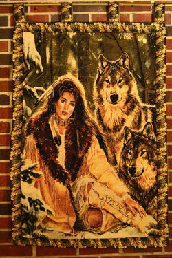 Tache 28 x 47 Inches Runs With Wolves American Indian Tapestry Wall Hanging With Hanging Loops (WH-DA12082) - Tache Home Fashion