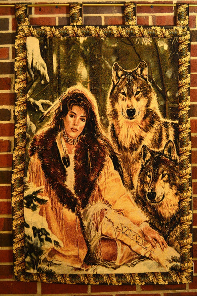 Wall Hanging - Tache 28 X 47 Inches Runs With Wolves American Indian Tapestry Wall Hanging With Hanging Loops