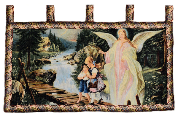 Wall Hanging - Tache 43 X 23 Guardian Angel With Children On Bridge Tapestry Wall Hanging