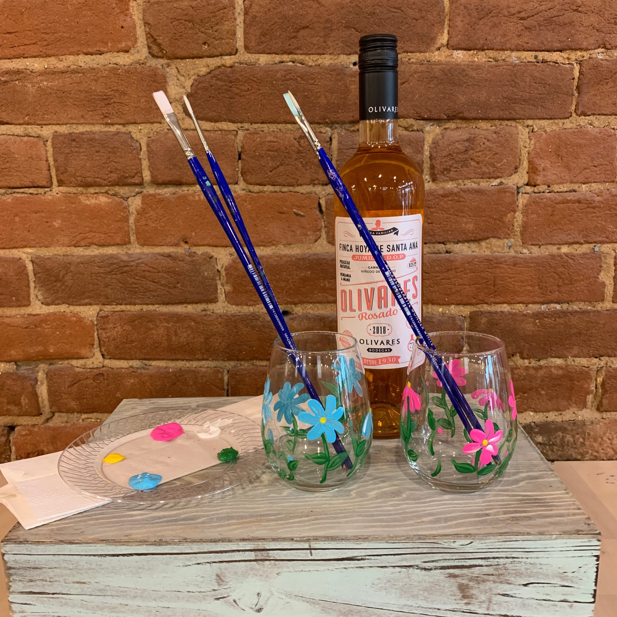 Floral Wine Glass Paint At Home Kit Studio Vino Sip