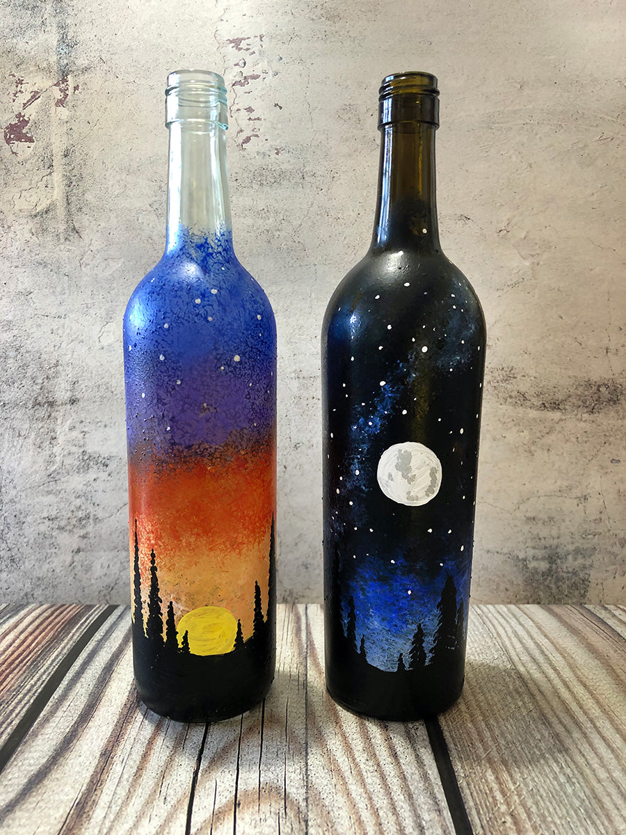 """Sun and Moon Wine Bottles"" Date Night Paint-at-Home Kit"