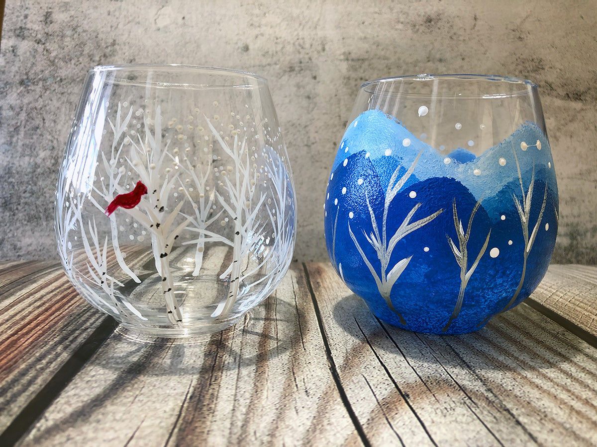 Winter Tree Wine Glasses Paint-at-Home Kit