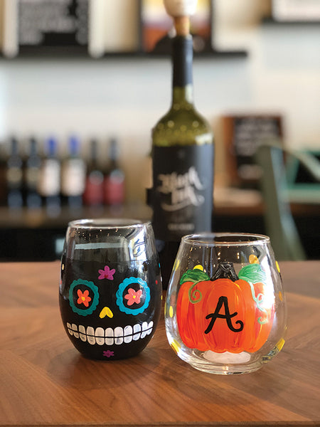 Halloween Wine Glass Painting