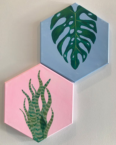 House Plants on Hexagon Canvas