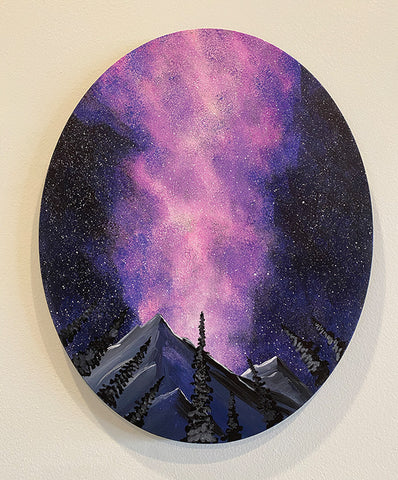 Evening Aurora on Oval Canvas