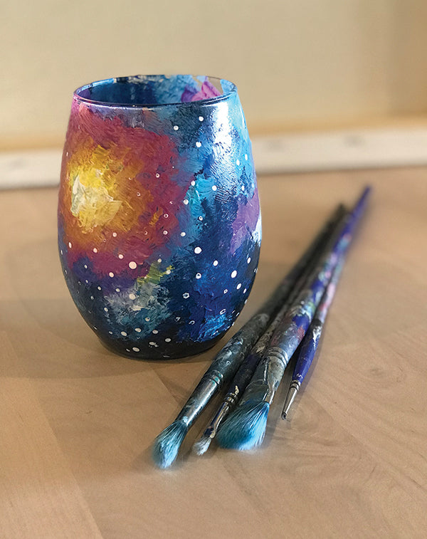 Galaxy Wine Glass Painting at Dark Heart Coffee Bar