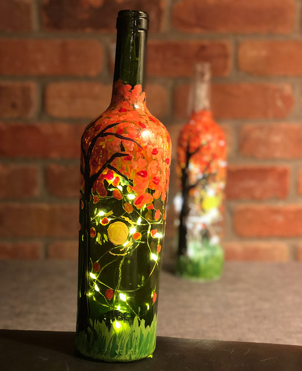 Date Night: Light-up Fall Wine Bottles