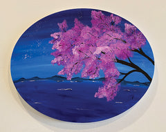 Blooming Lake on Oval Canvas