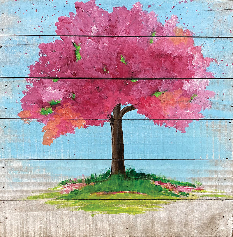 Cherry Blooms on a Wood Pallet