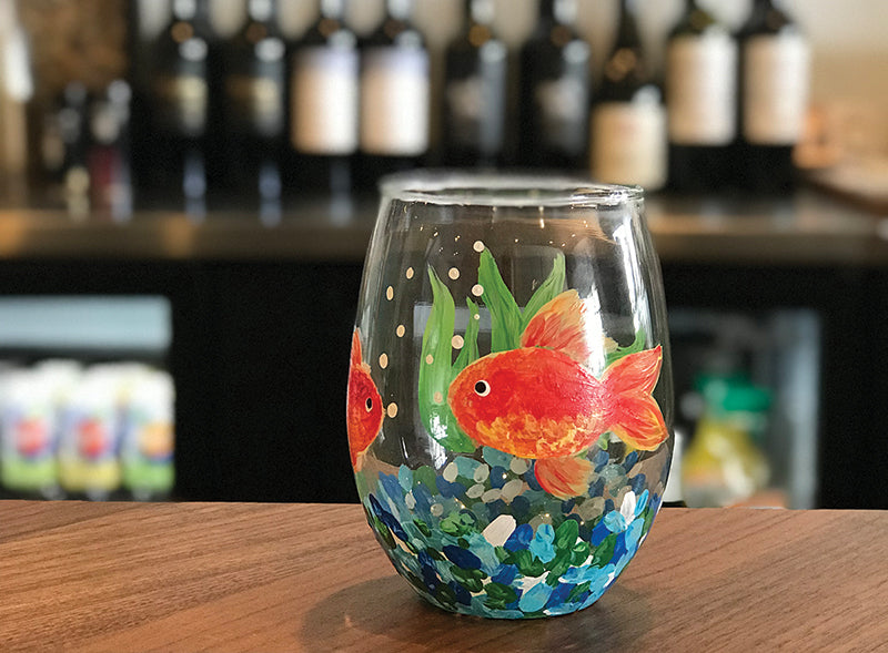 Goldfish Wine Glass Painting