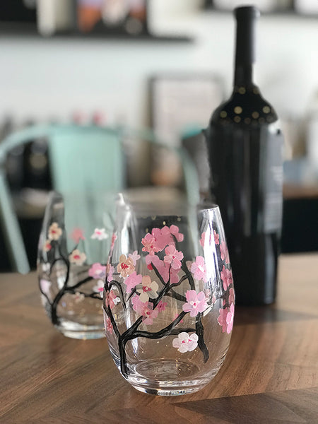 Cherry Blossoms Wine Glass Painting - March