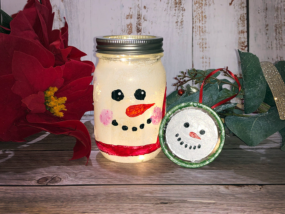 Kids' Twinkly Snowman Mason Jar Paint-at-Home Kit