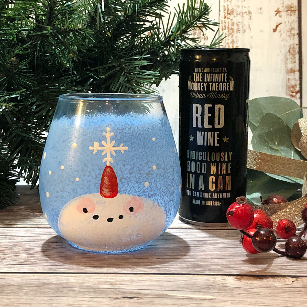"""Snowman Wine Glass for One"" Paint-at-Home Kit"