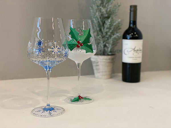 Holiday Wine Glasses at desk chair workspace