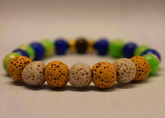 Aromatherapy Bracelet with Emperor, lapis and tiger eye