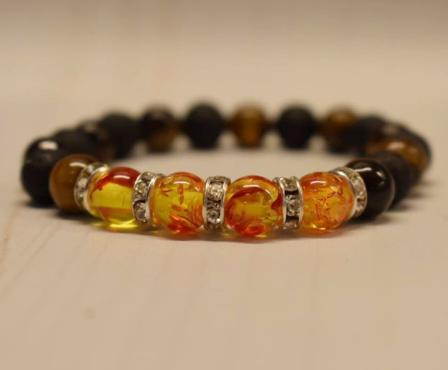 Aromatherapy Bracelet with Amber Resin and Tiger Eye