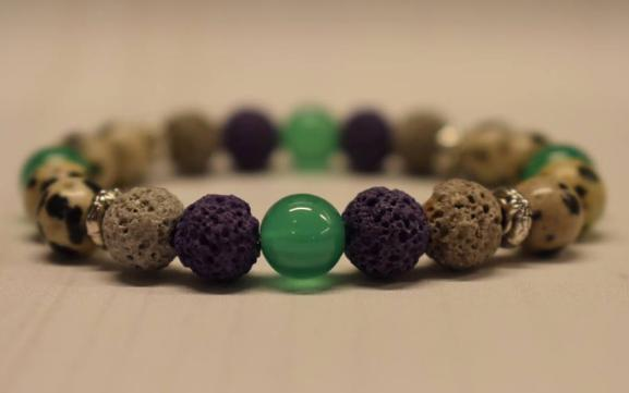 Aromatherapy Bracelet with Dalmatian Jasper and Green Agate