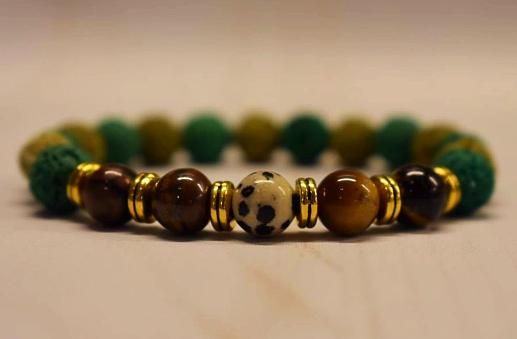 Aromatherapy Bracelet with Tiger Eye and Dalmatian Jasper