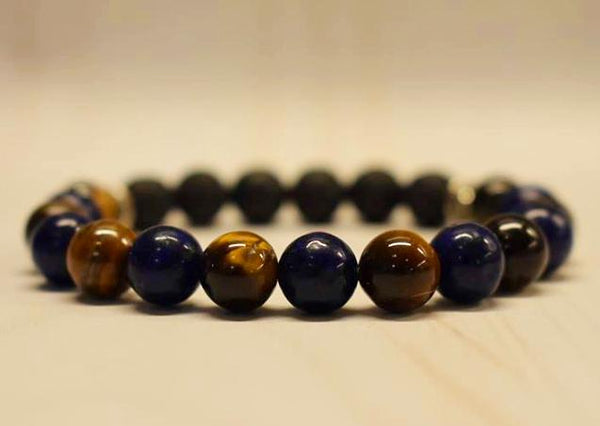 Aromatherapy Bracelet with Tiger Eye and Lapis Lazuli
