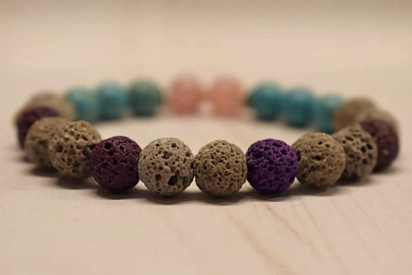 Aromatherapy Bracelet with Turquoise and Cherry Quartz