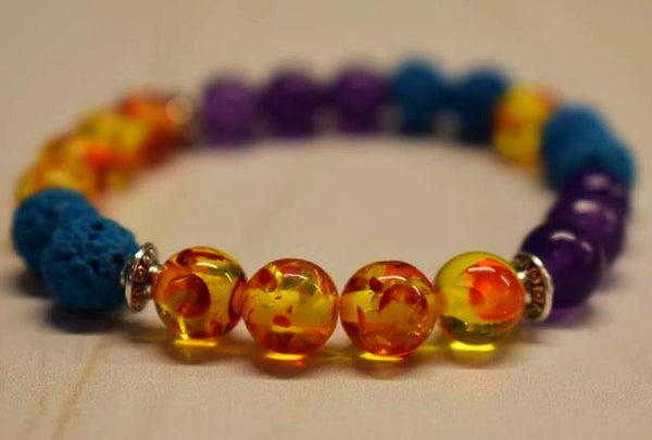 Aromatherapy Bracelet with Amber Resin and Amethyst