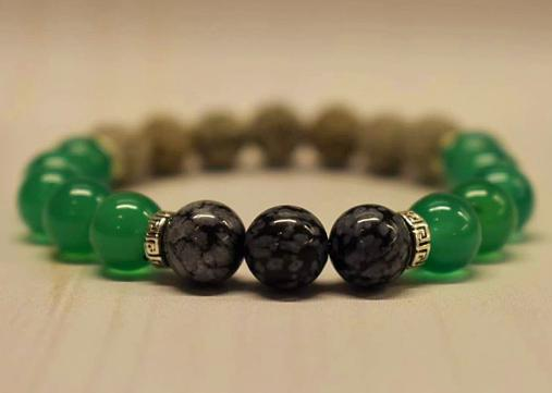 Aromatherapy Bracelet with Snowflake Obsidian and Green Agate