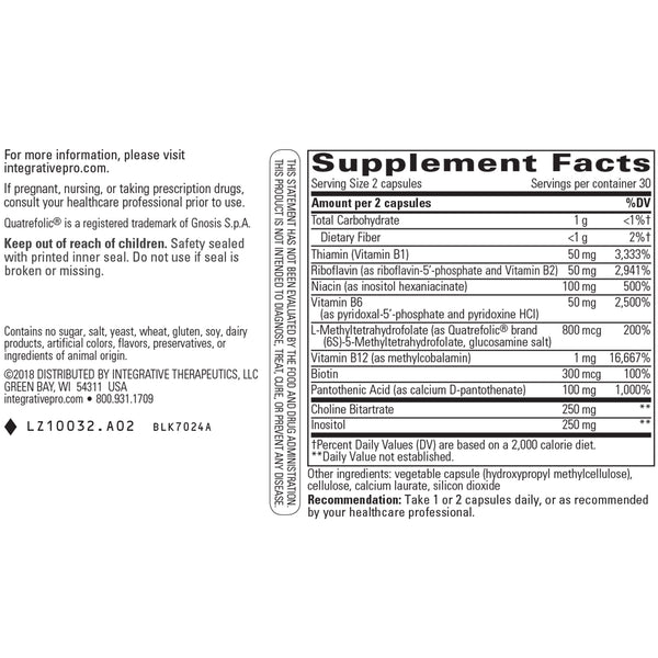 Integrative Therapeutics Active B Complex Supplement Facts