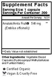 Amalaki Fruit Capsules Supplement Facts
