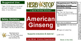 American Ginseng Extract Label
