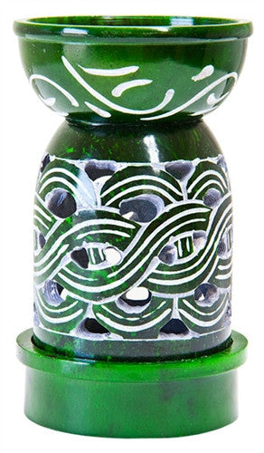 Aroma Lamp Green with Weave Design