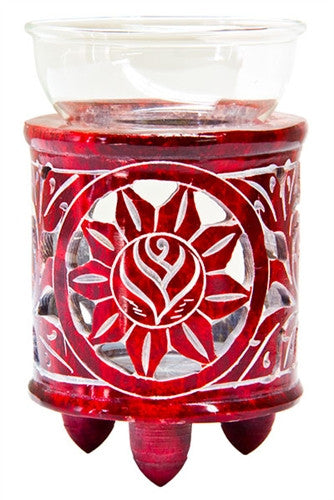 Aroma Lamp Red with Flower Design