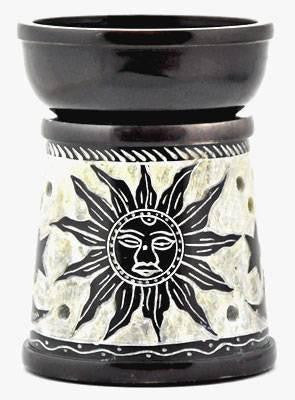 Aroma Lamp - Black with Sun & Moon Design