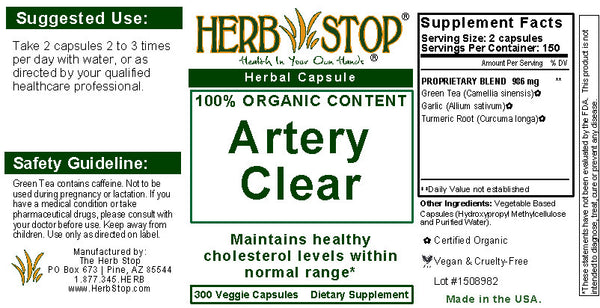 Artery Clear Capsules Label