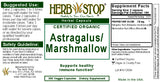 Astragalus/Marshmallow Root Capsules Label