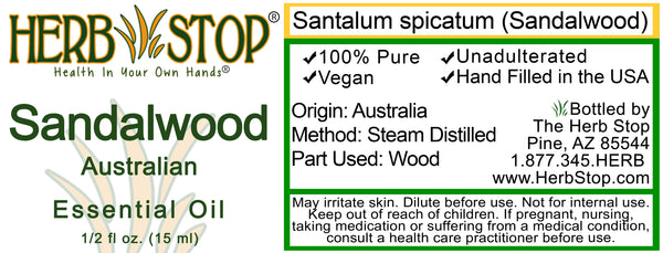 Australian Sandalwood Essential Oil Label