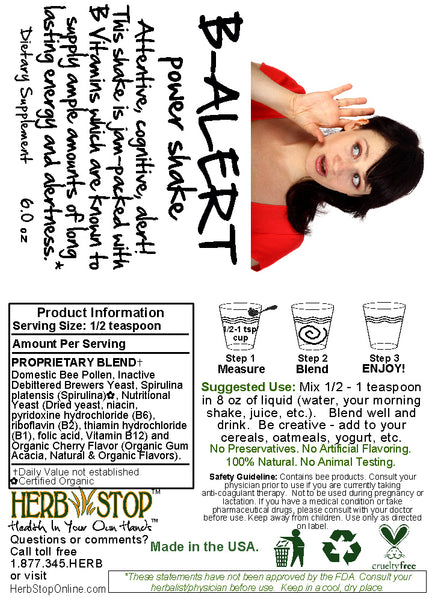 B-Alert Power Shake Label