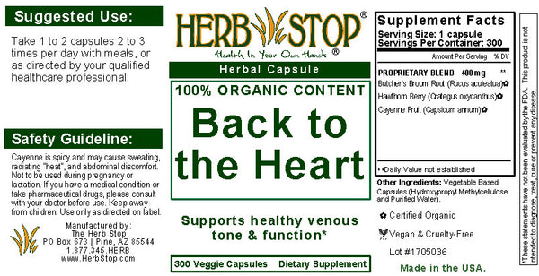 Back to the Heart Capsules Label
