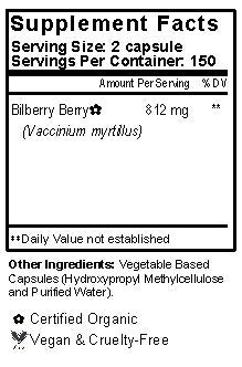 Bilberry Berry Capsules Supplement Facts