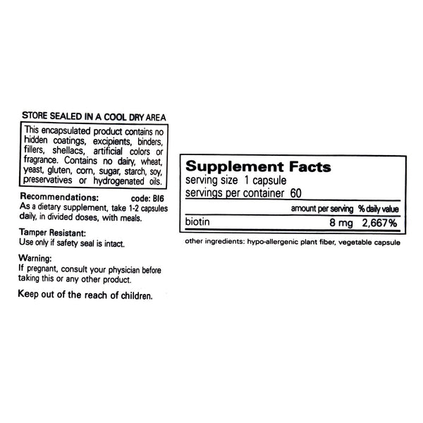 Pure Encapsulations Biotin 8mg Supplement Facts