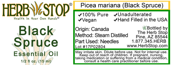 Black Spruce Essential Oil Label