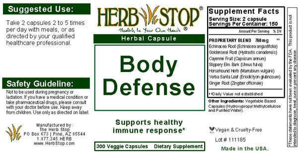 Body Defense Capsules Label