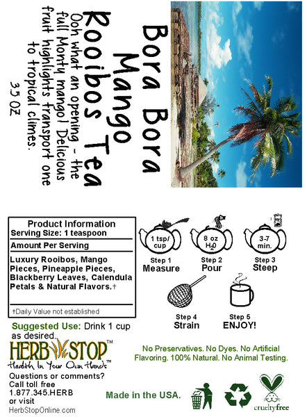 Bora Bora Mango Rooibos Tea Label