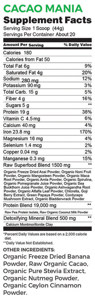 Powerootz SuperFood Cacao Mania Protein Shake Nutritional Facts
