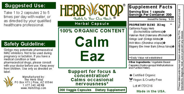 Calm Eaz Capsules Label
