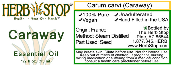 Caraway Essential Oil Label