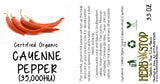 Organic Cayenne Pepper 35k HU Label
