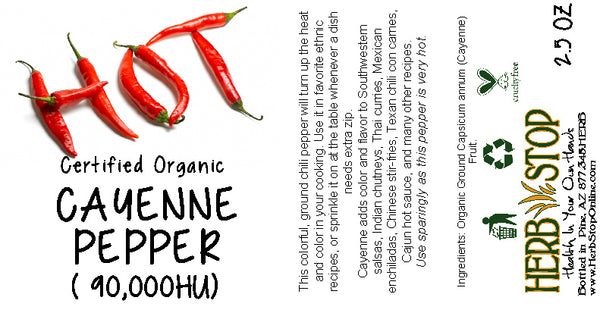 Organic Cayenne Pepper 90k HU Label