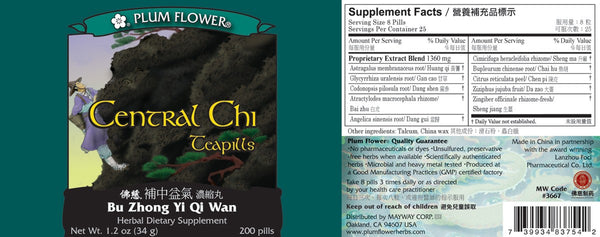 Central Chi Teapills Supplement Facts